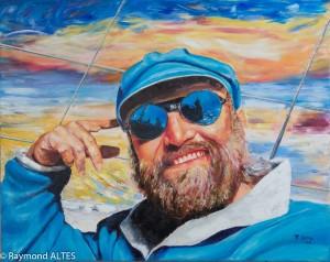 Peinture : Autoportrait en mer - Bretagne
