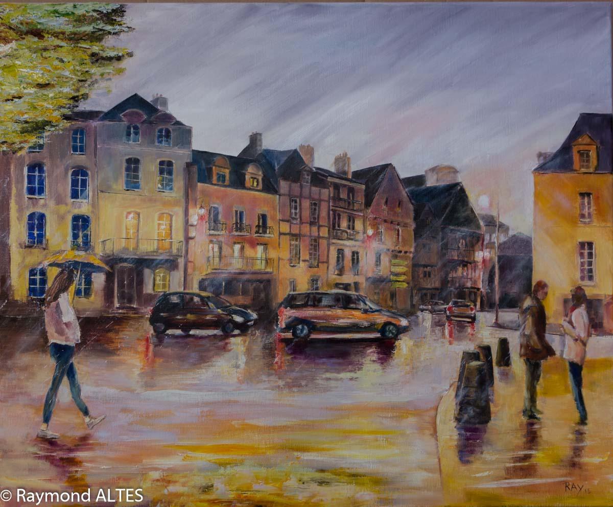 peinture : Vers la place Gambetta, Vannes