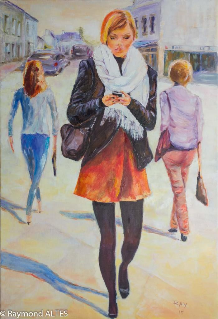Tableau de Raymond Altès : Femme aux collants noirs