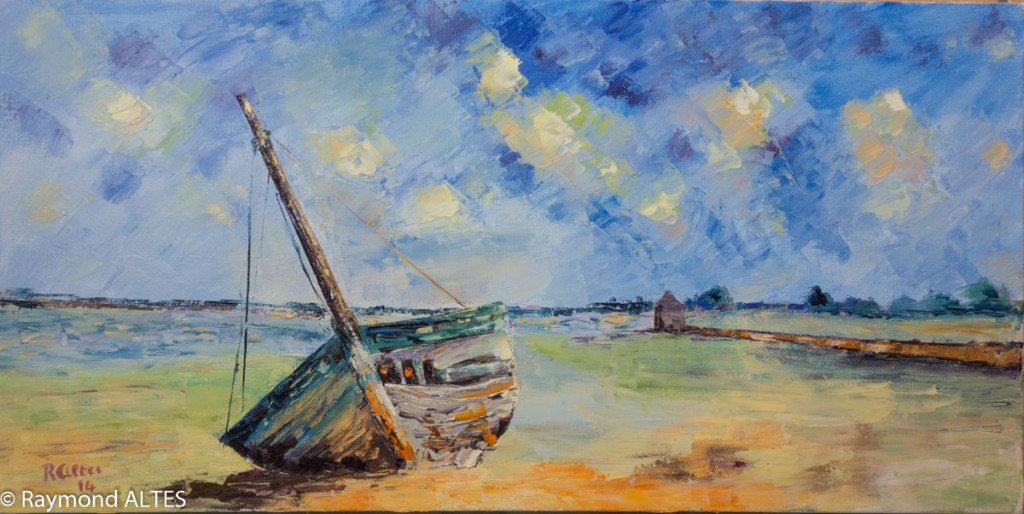 Tableau de Raymond Altès : « Épave au moulin à l'île d'Arz »