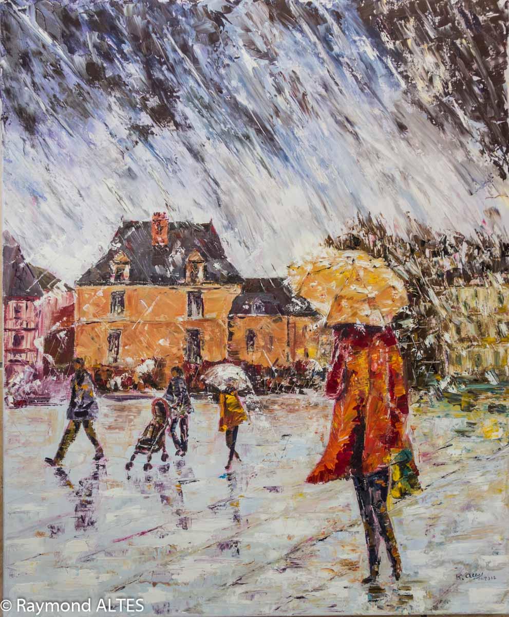 Tableau de Raymond Altès : Pluie sur l'esplanade au port de Vannes