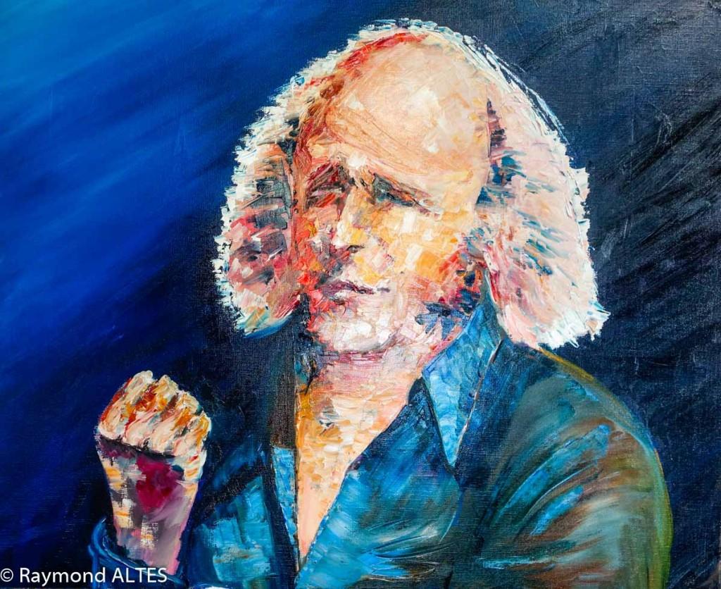 Peinture de Raymond Altès : Portrait de Léo Ferré