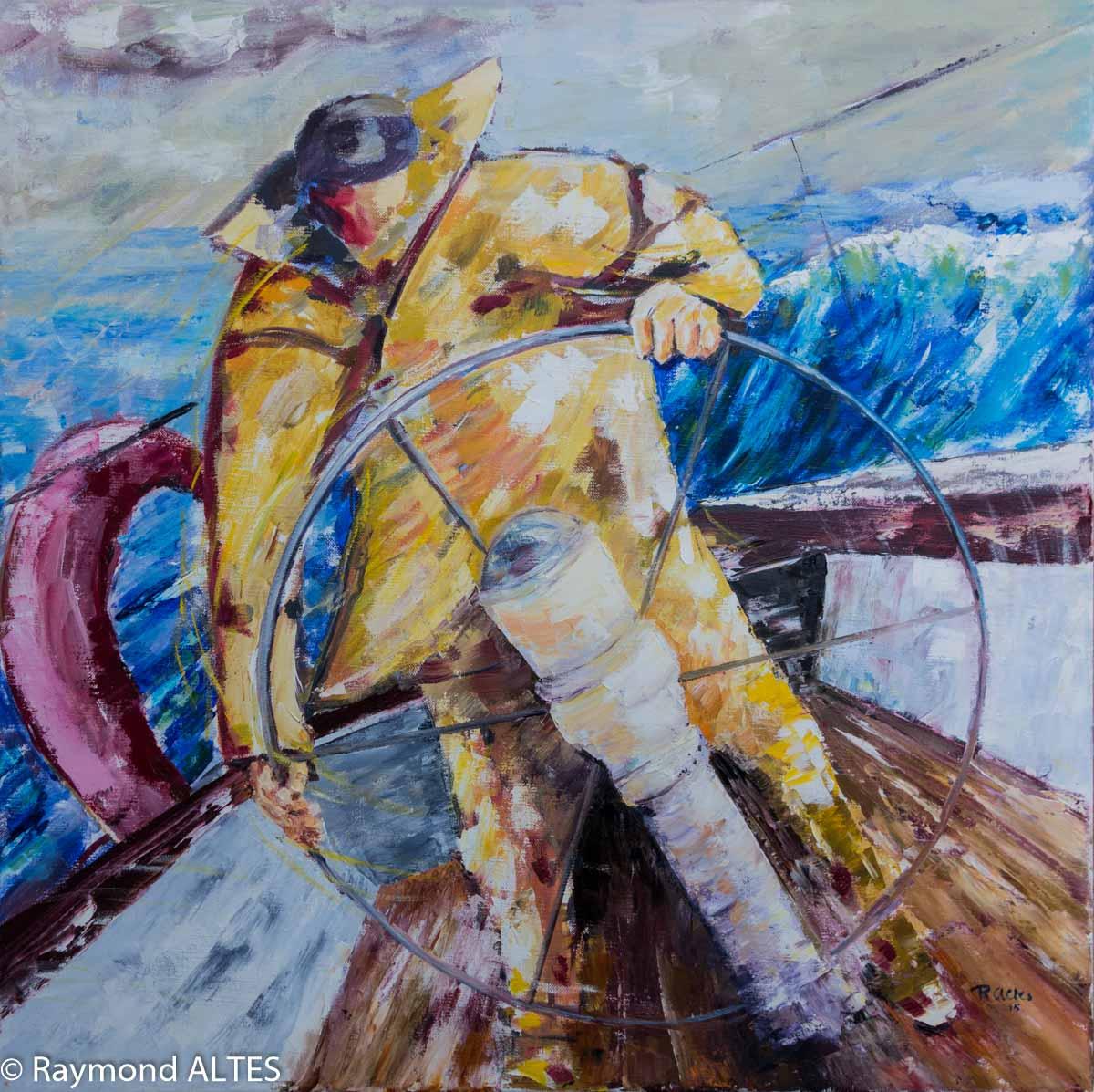 Peinture de Raymond Altès : Manœuvre à la barre