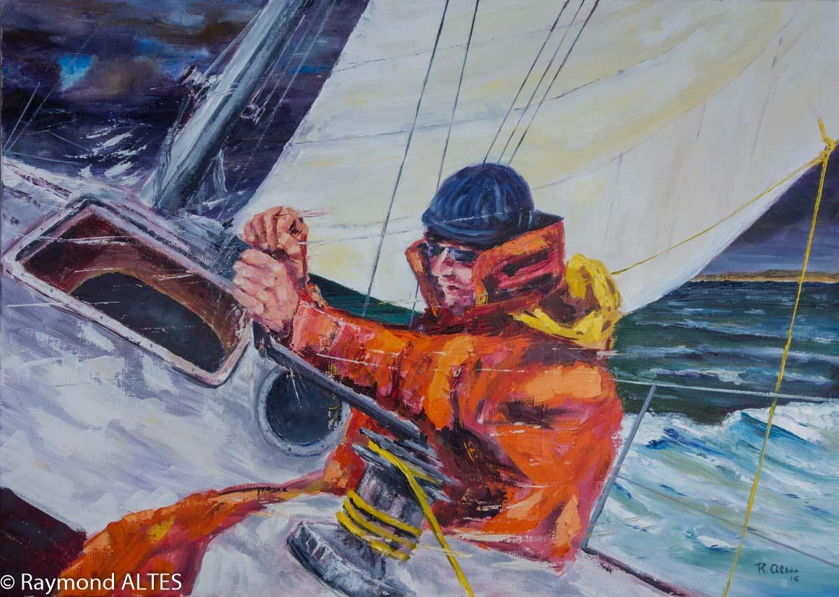 Peinture de Raymond Altès : Border la voile