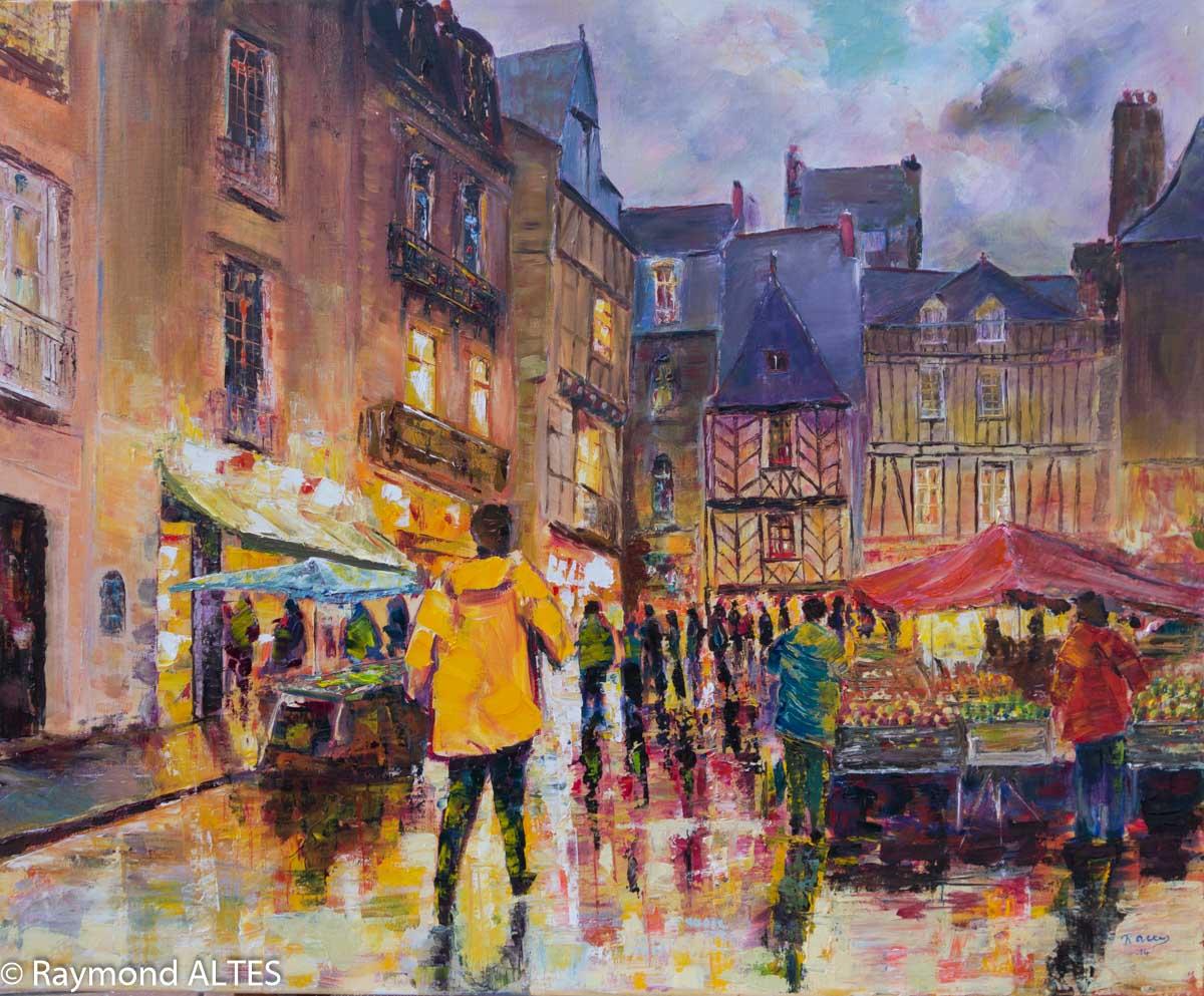 Peinture de Raymond Altès : Marché de Vannes