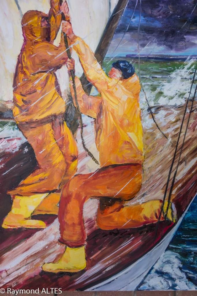"""Peinture de Raymond Altès : """"affaler la voile"""""""