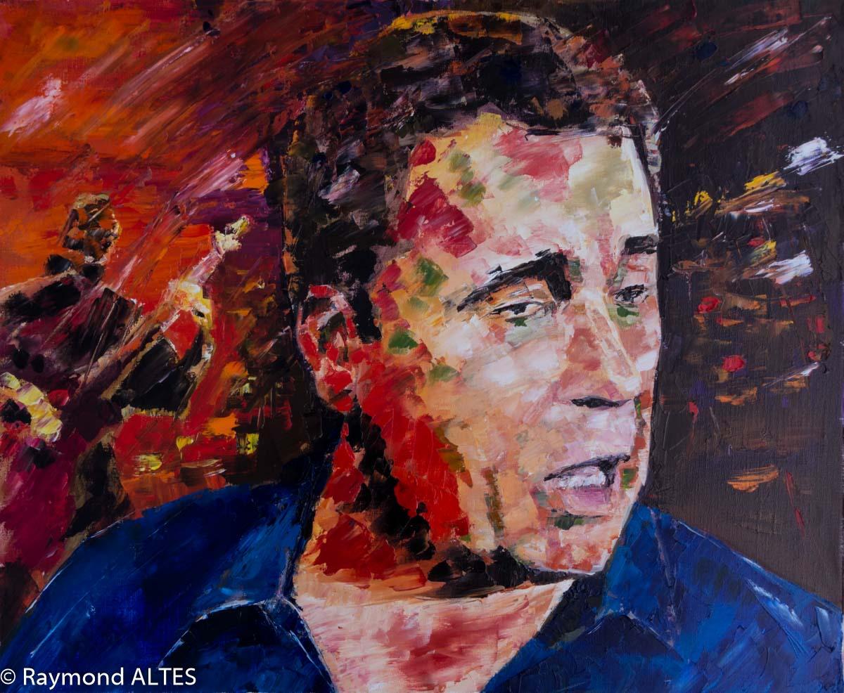 Tableau de Raymond Altès : Portrait de Nougaro