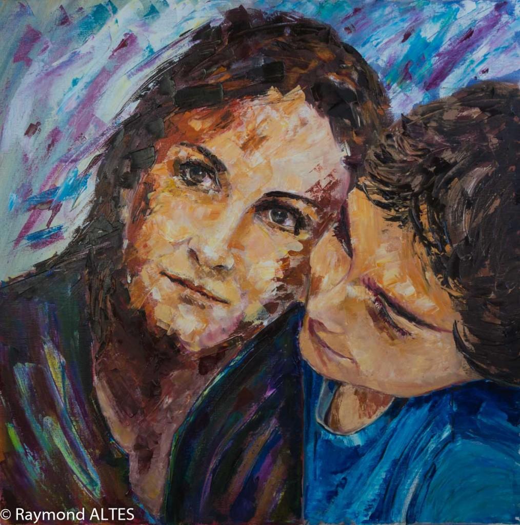 Peinture de Raymond Altès : La mère et l'enfant