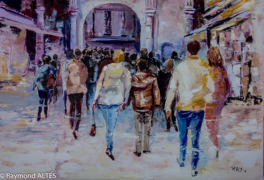 Peinture de Raymond Altès : Mouvement de foule