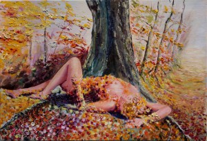 Peinture de Raymond Altès : fantasme d'un vieux chêne