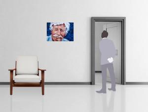 Mise en situation du portrait de J. Ferrat (cliquez)