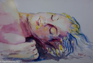 Tableau de Raymond Altès : Femme endormie