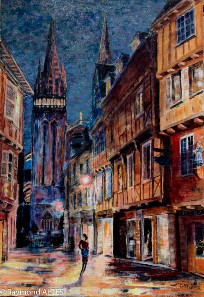 Tableau, peinture de Raymond Altès : Cathédrale Saint-Corentin de Quimper