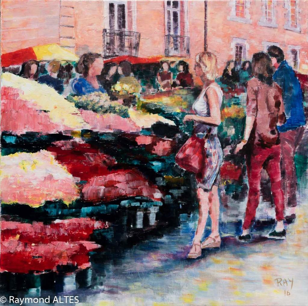 Peinture de Raymond Altès : Les couleurs du Marché de Vannes