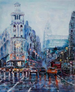 Gran Via, Madrid Acrylique sur toile de lin 73x60 cm