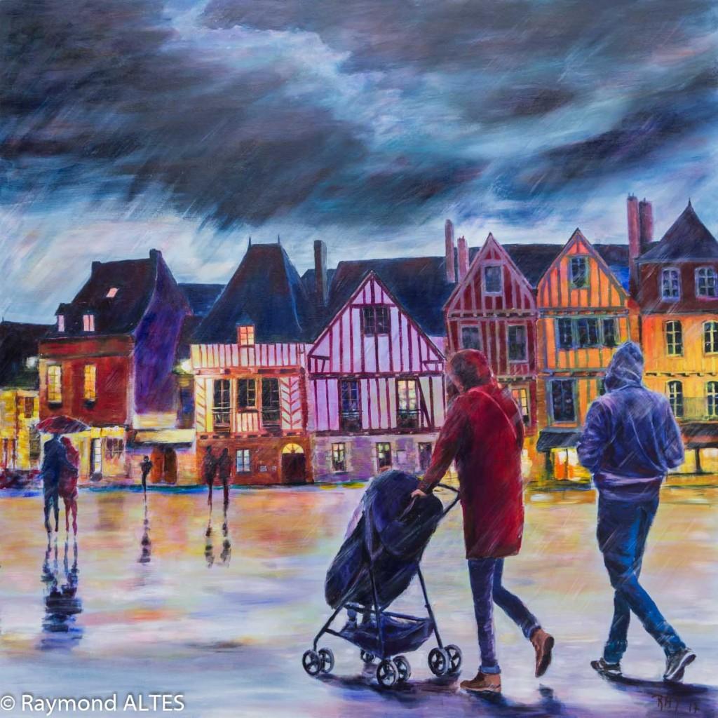 Pluie fine sur l'Esplanade du Port de Vannes -peinture de Raymond ALTES