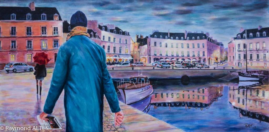 Peinture de Raymond ALTES Place Gambetta Port de Vannes