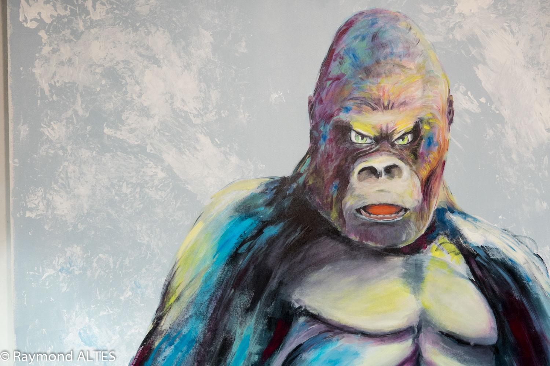 Gare au gorille, détail du tableau de Raymond ALTES