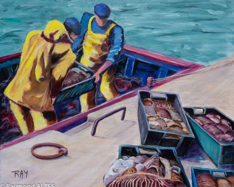 Tableau de Raymond ALTES Retour de pêche à la morgate
