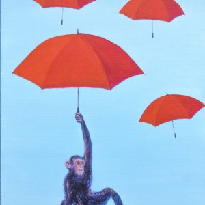 Tableau de Raymond ALTES, il pleut des parapluies