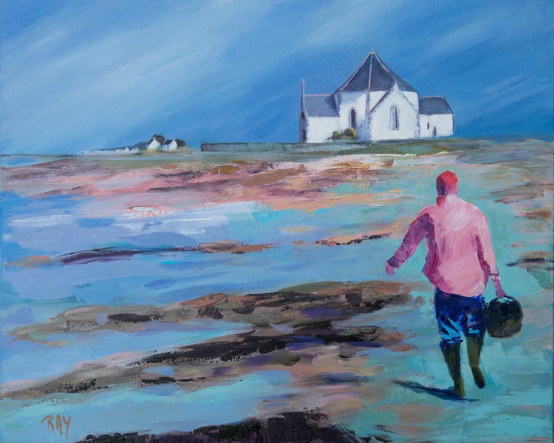 Tableau de Raymond ALTES, titre : Chapelle de Penvins, retour de pêche